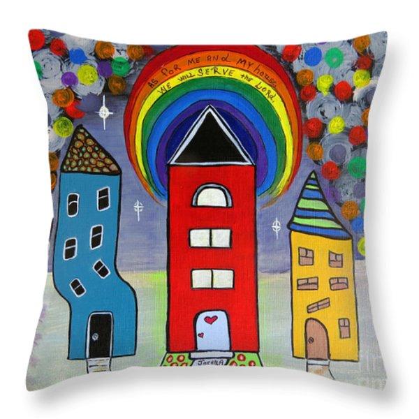 We Choose to Serve - Original Whimsical Folk Art Painting Throw Pillow by Ella Kaye Dickey