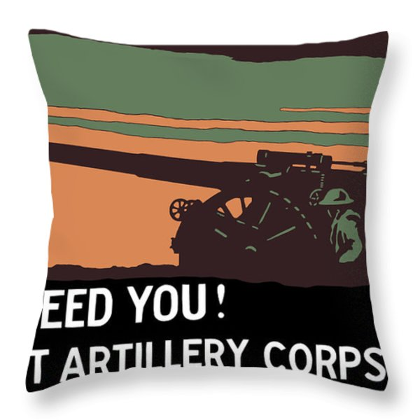 We Need You Coast Artillery Corps USA Throw Pillow by War Is Hell Store