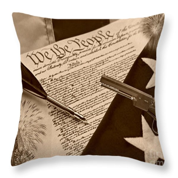 We The People sepia Throw Pillow by Cheryl Young