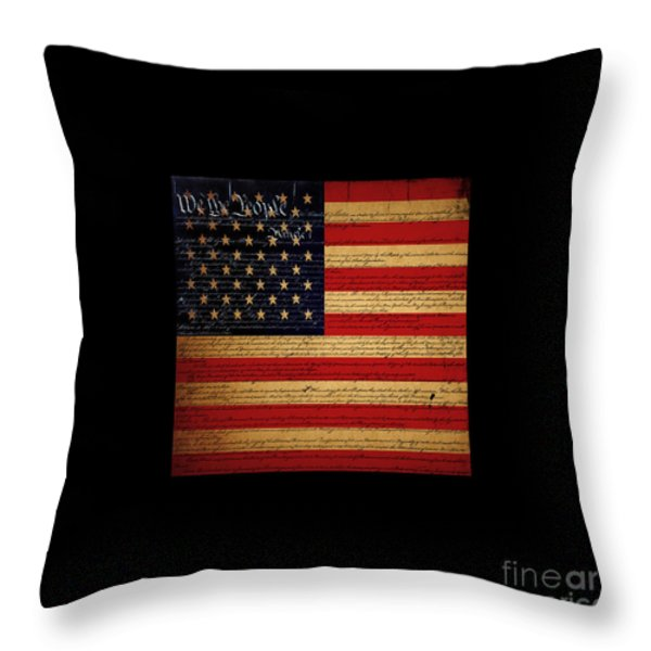 We The People - The US Constitution with Flag - square black border Throw Pillow by Wingsdomain Art and Photography