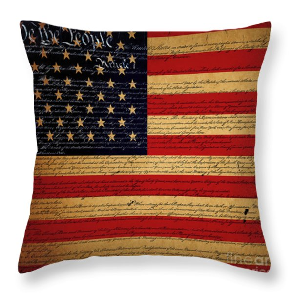 We The People - The US Constitution with Flag - square v2 Throw Pillow by Wingsdomain Art and Photography