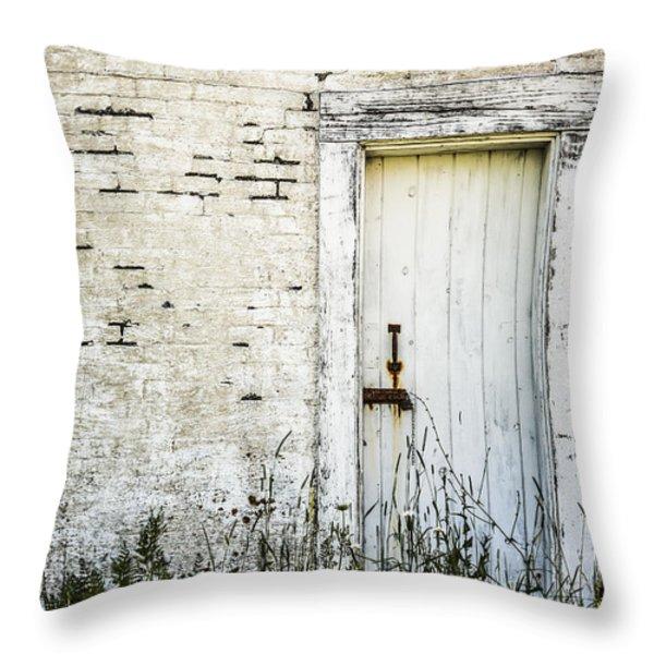 Weathered Door Throw Pillow by Diane Diederich