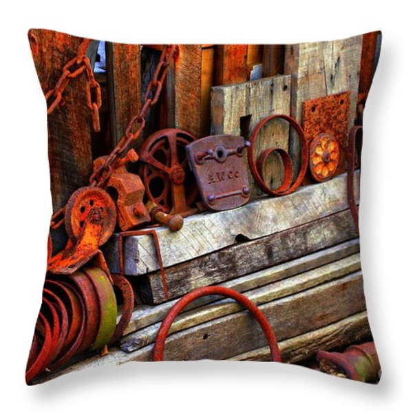 Weathered Rims And Chains Throw Pillow by Marcia Lee Jones