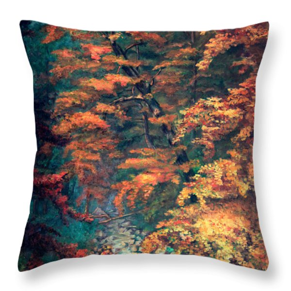 Webster's Falls Throw Pillow by Otto Werner