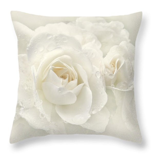 Wedding Day White Roses Throw Pillow by Jennie Marie Schell