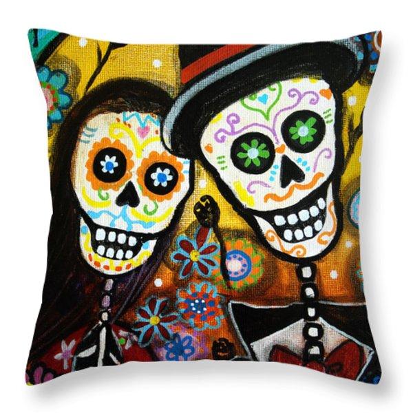 Wedding Dia De Los Muertos Throw Pillow by Pristine Cartera Turkus