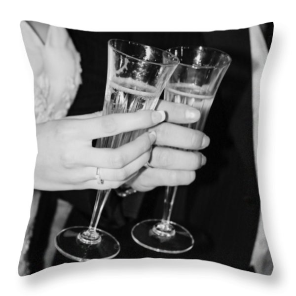Wedding Toast Throw Pillow by Valerie Loop