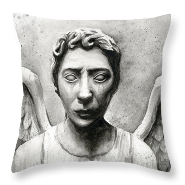 Weeping Angel Don't Blink Doctor Who Fan Art Throw Pillow by Olga Shvartsur