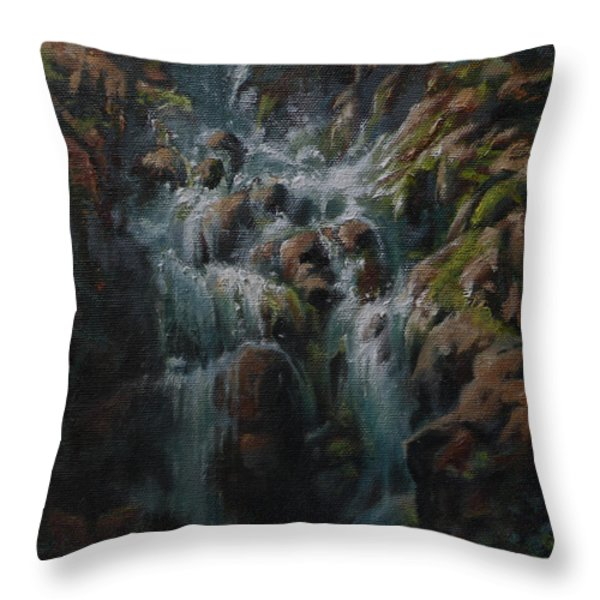 Weeping Rocks Throw Pillow by Mia DeLode
