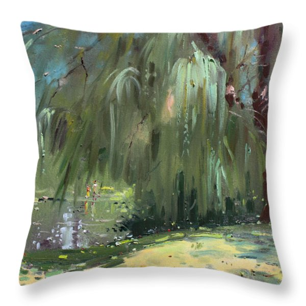 Weeping Willow Tree Throw Pillow by Ylli Haruni