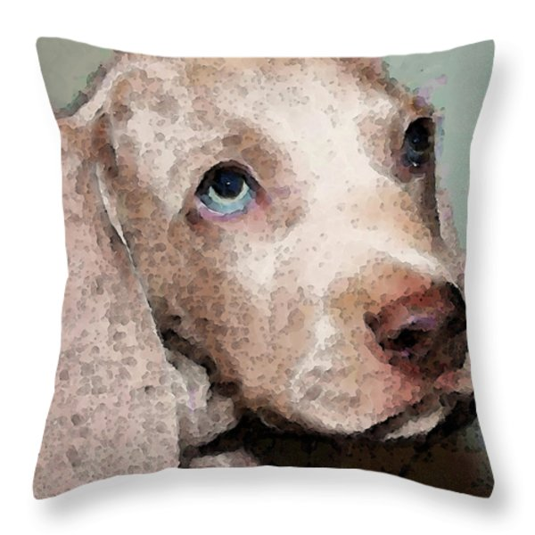 Weimaraner Dog Art - Forgive Me Throw Pillow by Sharon Cummings