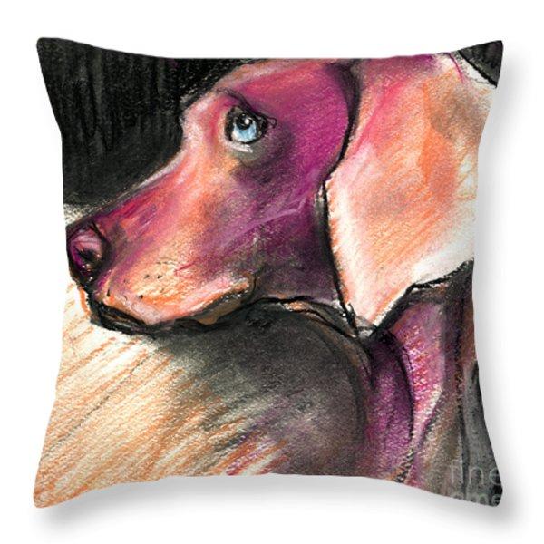 Weimaraner Dog painting Throw Pillow by Svetlana Novikova