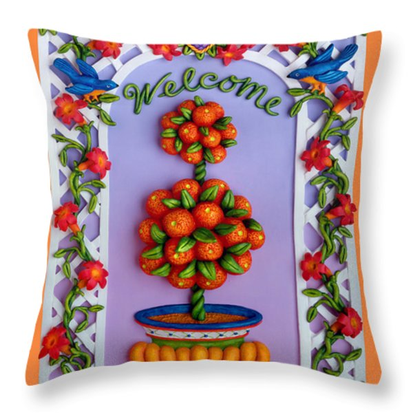 Welcome Throw Pillow by Amy Vangsgard