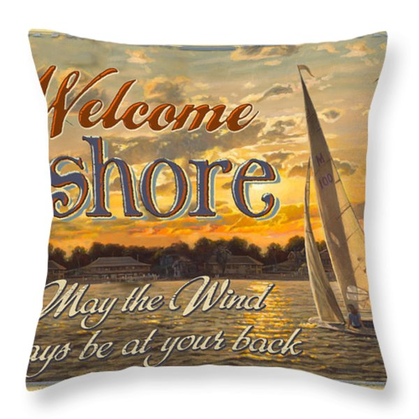 Welcome Ashore Sign Throw Pillow by JQ Licensing