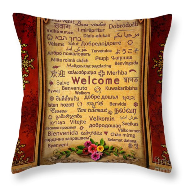 Welcome Throw Pillow by Bedros Awak