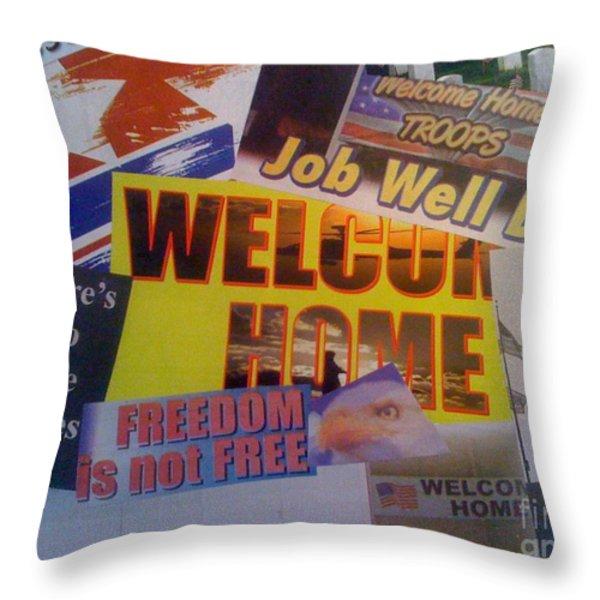 Welcome Home Throw Pillow by Paula Talbert