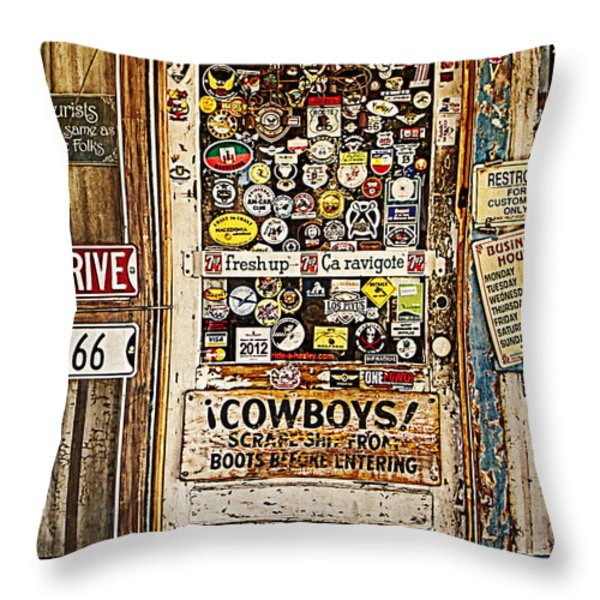 Welcome To Hackberry General Store Throw Pillow by Priscilla Burgers