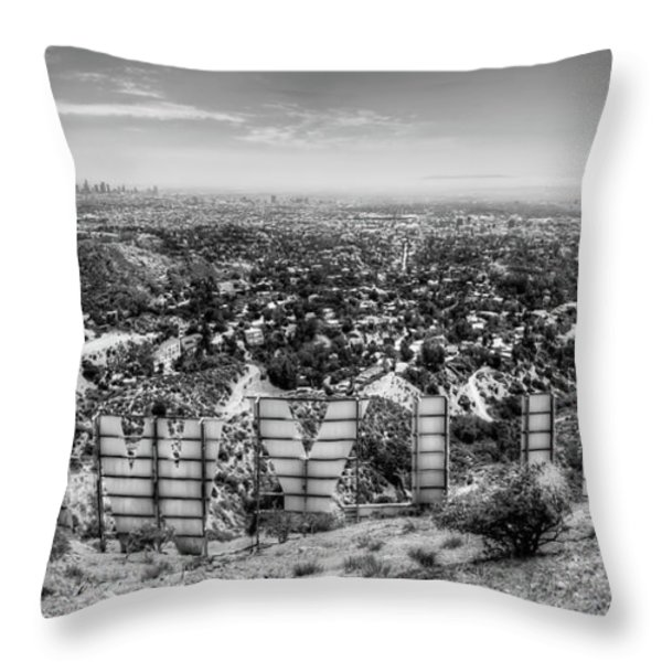Welcome to Hollywood - BW Throw Pillow by Natasha Bishop