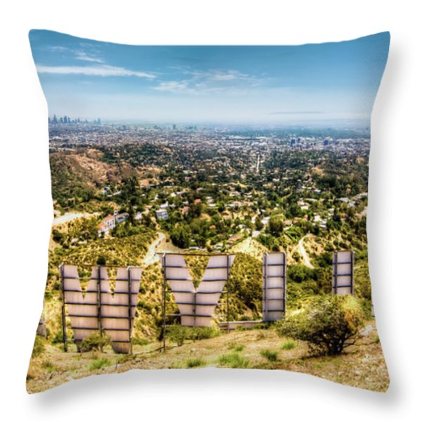 Welcome to Hollywood Throw Pillow by Natasha Bishop