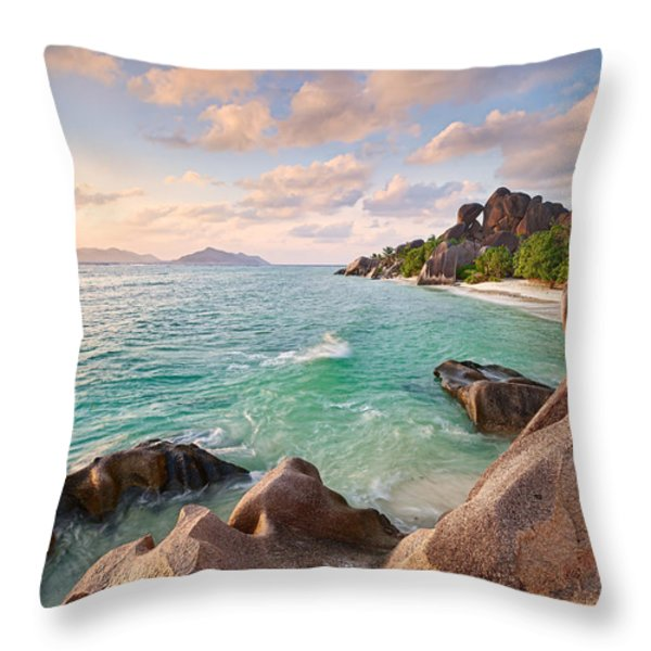 Welcome To La Digue Throw Pillow by Michael Breitung