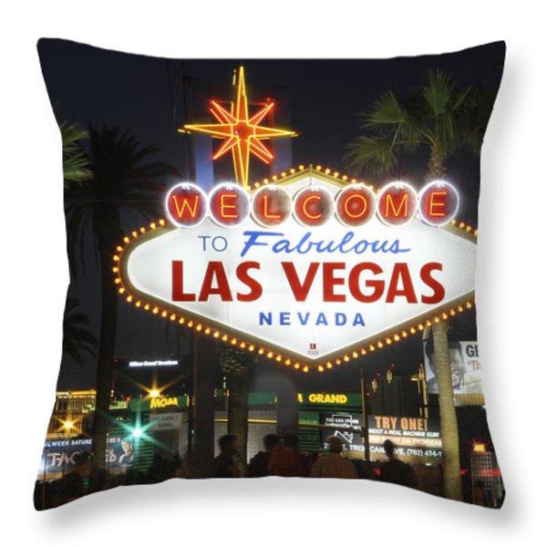 Welcome to Las Vegas Throw Pillow by Mike McGlothlen