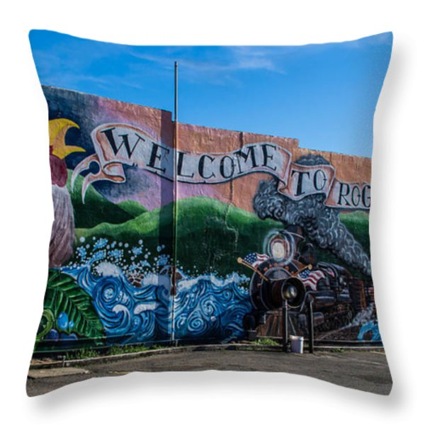 Welcome To Rogue River Oregon Throw Pillow by Mick Anderson
