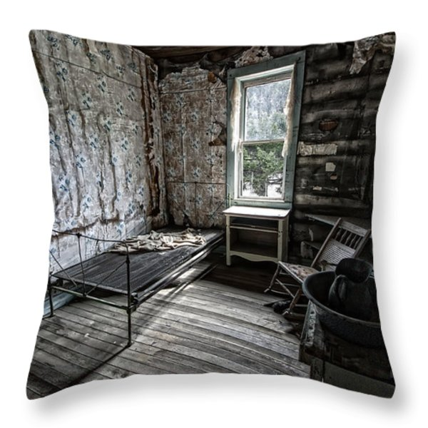 Wells Hotel Room 2 - Garnet Ghost Town - Montana Throw Pillow by Daniel Hagerman