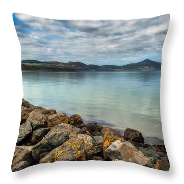 Welsh Coast Throw Pillow by Adrian Evans