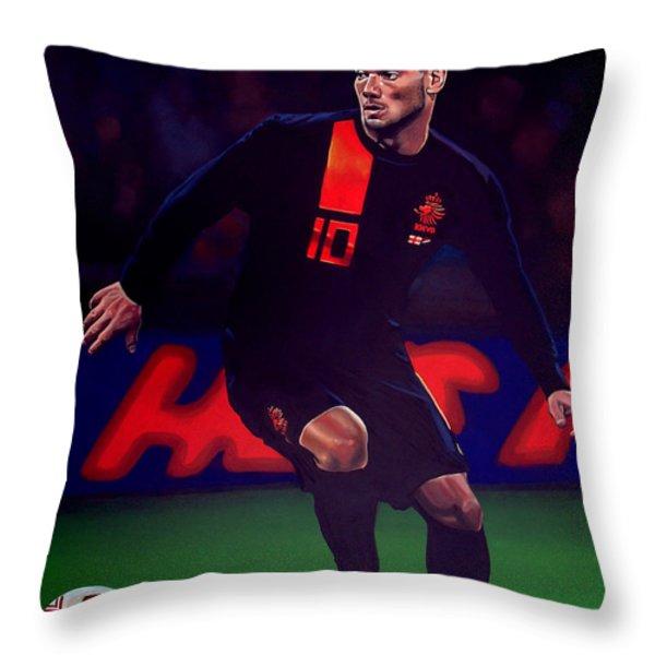 Wesley Sneijder  Throw Pillow by Paul  Meijering
