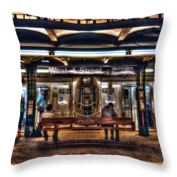 West 4th Street Subway Throw Pillow by Randy Aveille