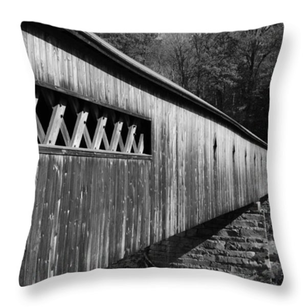 West Dummerston Covered Bridge Throw Pillow by Luke Moore