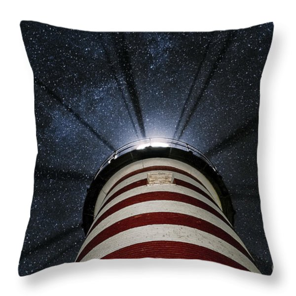 West Quoddy Head Lighthouse Night Light Throw Pillow by Marty Saccone