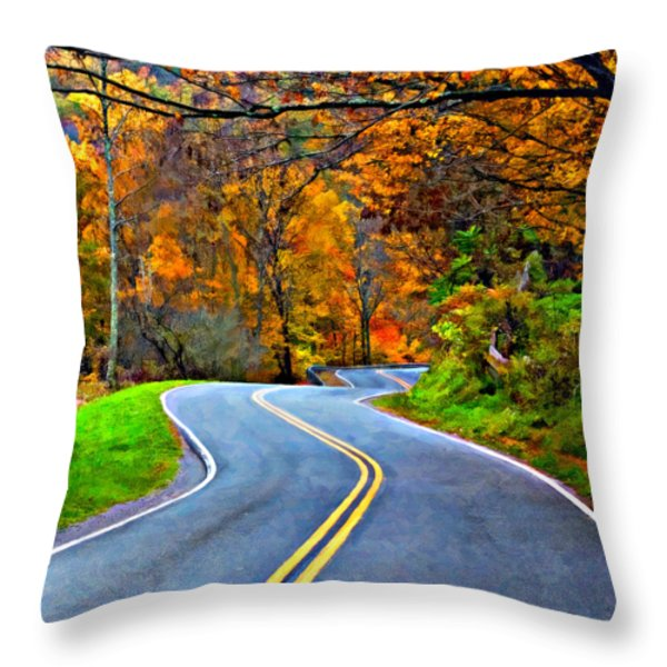 West Virginia Curves 2 Oil Throw Pillow by Steve Harrington