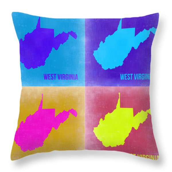 West Virginia Pop Art Map 2 Throw Pillow by Naxart Studio