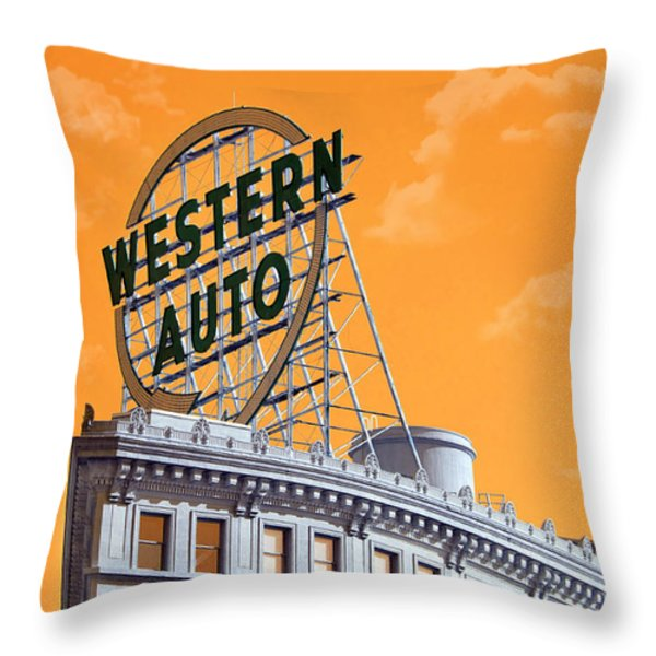 Western Auto Sign Artistic Sky Throw Pillow by Andee Design