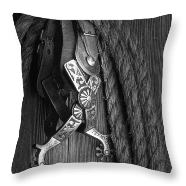 Western Spurs Throw Pillow by Tom Mc Nemar