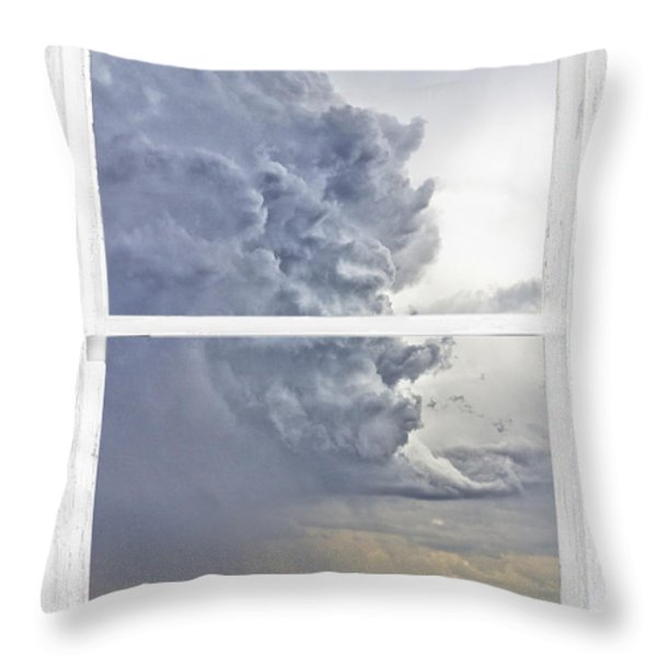 Western Storm Farmhouse Window Art View Throw Pillow by James BO  Insogna