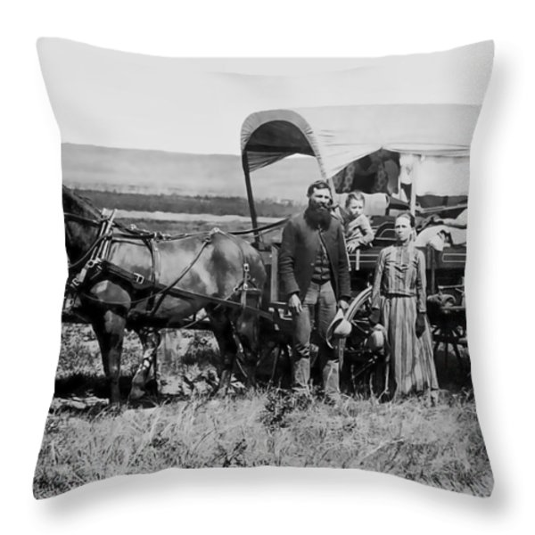 WESTWARD FAMILY IN COVERED WAGON c. 1886 Throw Pillow by Daniel Hagerman