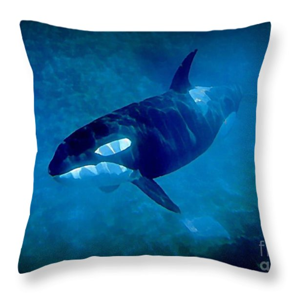 Whale Throw Pillow by John Malone