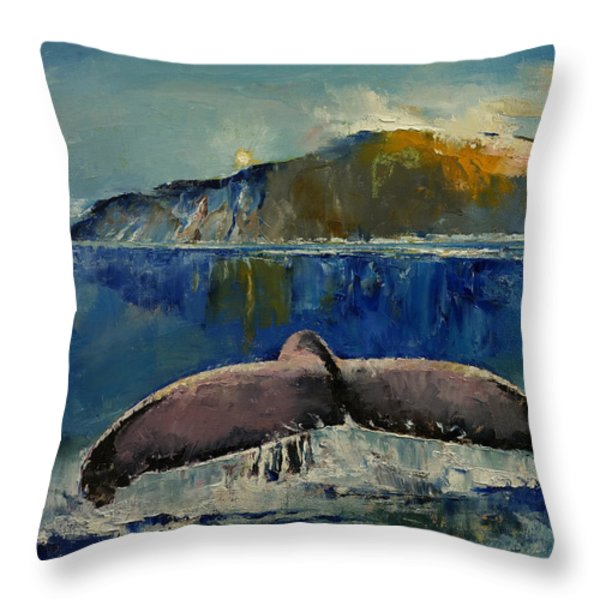 Whale Song Throw Pillow by Michael Creese