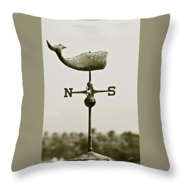 Whale Weathervane In Sepia Throw Pillow by Ben and Raisa Gertsberg