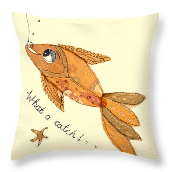 What a catch Throw Pillow by Hazel Millington