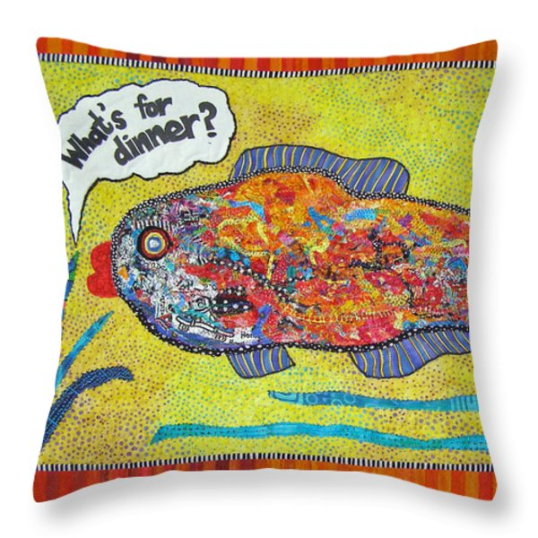 What's For Dinner Throw Pillow by Susan Rienzo