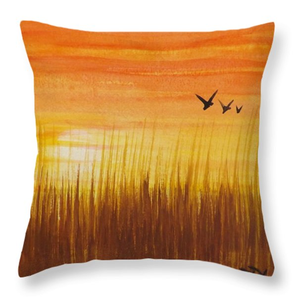 Wheatfield At Sunset Throw Pillow by Darren Robinson