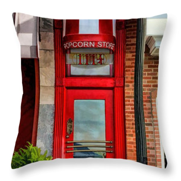 Wheaton Little Popcorn Shop Panorama Throw Pillow by Christopher Arndt