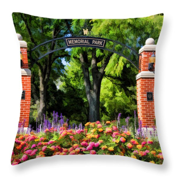 Wheaton Memorial Park Throw Pillow by Christopher Arndt