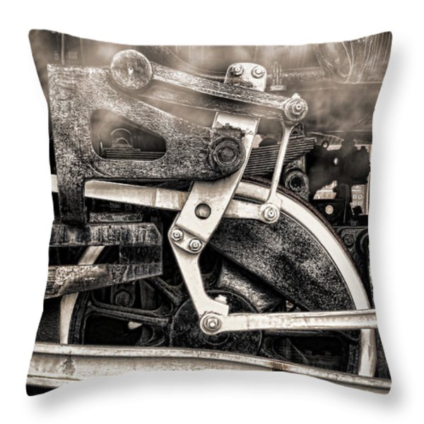 Wheel and Steam Throw Pillow by Olivier Le Queinec