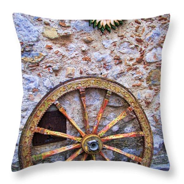 Wheel and Sun in Taromina Sicily Throw Pillow by David Smith