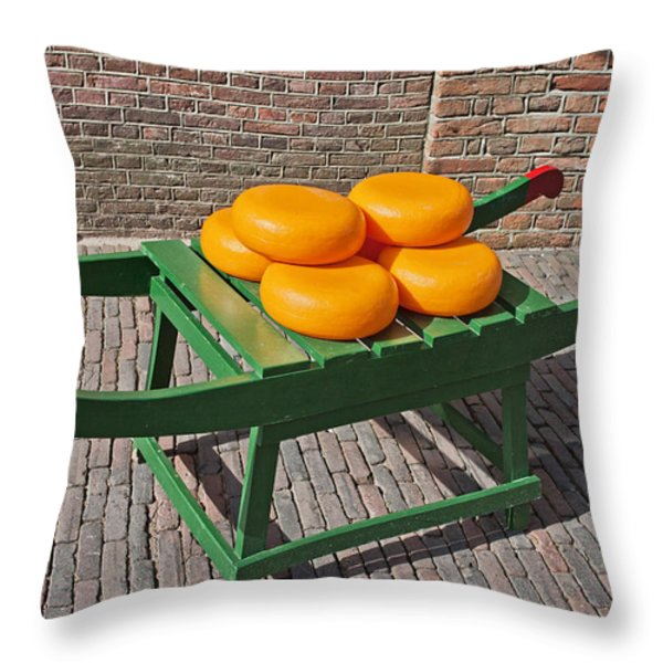 Wheels of Dutch Gouda Cheese Throw Pillow by Artur Bogacki