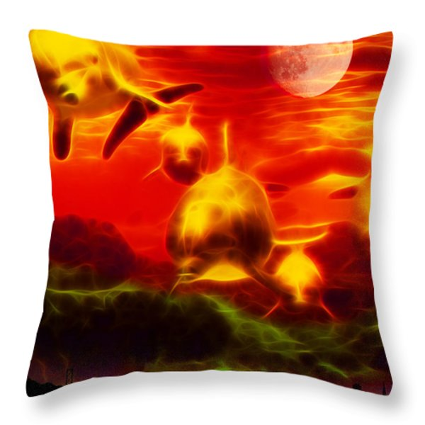 When Dolphins Cry - V2 Throw Pillow by Wingsdomain Art and Photography